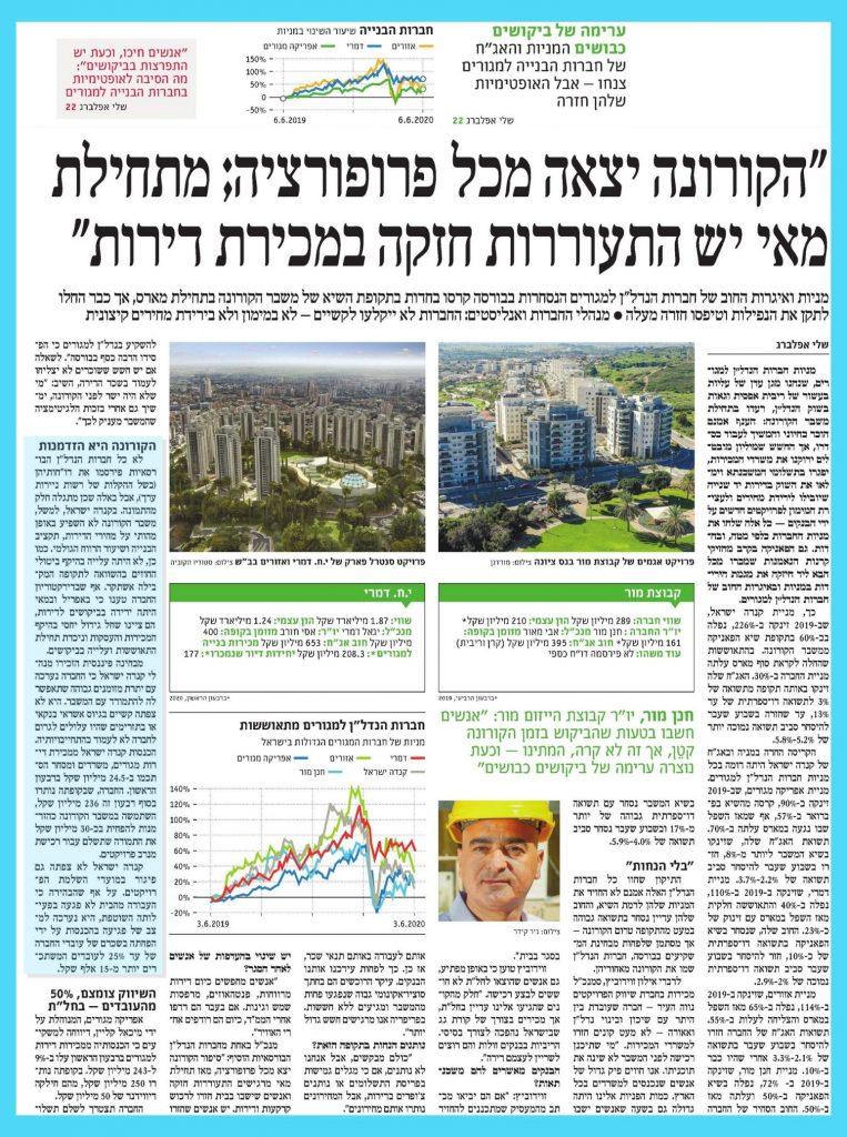 ברק רוזן וקנדה ישראל מתגברים על משבר הקורונה - צילום כתבה מתוך עיתון דה מרקר